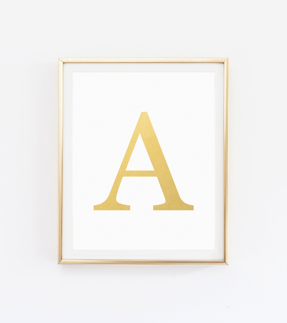 Gold nursery print initial wall art gold nursery letter - Initial letter wall decor ...