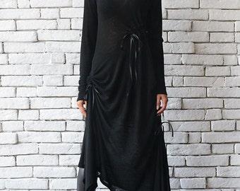 Black Maxi Dress/Oversize Long Tunic/Extravagant Black Kaftan/Plus Size Maxi Dress/Long Sleeve Top/Asymmetric Black Dress/Loose Tunic Dress