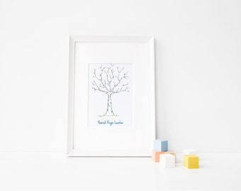 Baby Shower Thumbprint Tree Guestbook BLUE