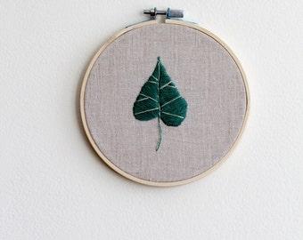 Hand Stitched Dark Green Leaf Hoop Art
