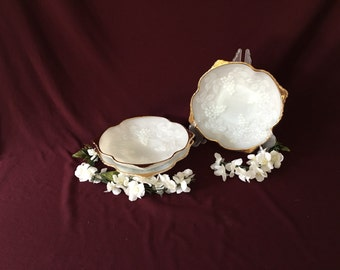 Anchor Hocking | Milk Glass Square Dishes | Grapes and Leaves | Gold Rim | Set of Three