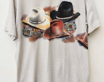90s Tee / Champion Bulldogging Tshirt / XL SLIM / Khaki / Cowboy Hats / Rodeo Country Western Sports