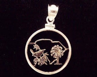 South Carolina Quarter Cut Coin Necklace Pendant Palm Trees Wren