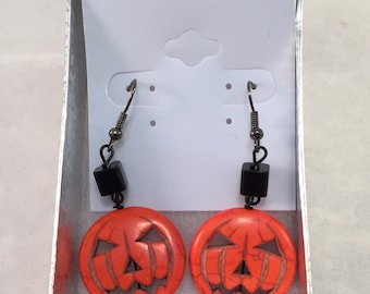 Halloween Earrings. Jack-O'-Lantern Earrings. Pumpkin Earrings. Halloween Costume. Fall Holiday. October Holiday. Autumn Jewelry