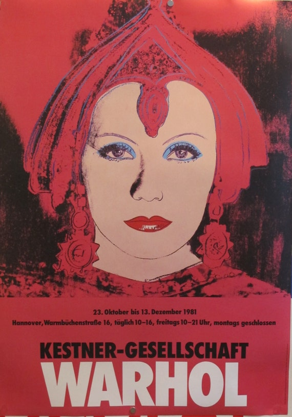 1981 andy warhol greta garbo exhibition poster original. Black Bedroom Furniture Sets. Home Design Ideas
