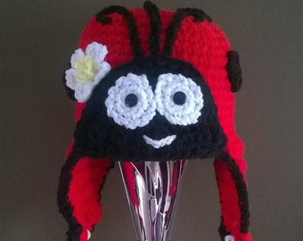 Crochet Ladybug hat, Ladybug, Made to order