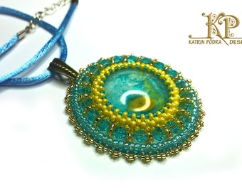 Unique art jewelry, bead embroidered pendant with handpainted glass cabochon, perfect gift for her, blue and yellow necklace - sun and sky