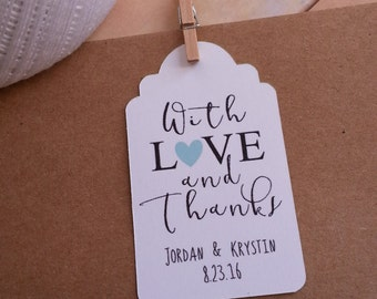 25 With Love and Thanks Favor Tags, Wedding Favor Tags, Wedding Thank You Favor Tags, Favor Tags with No Hole