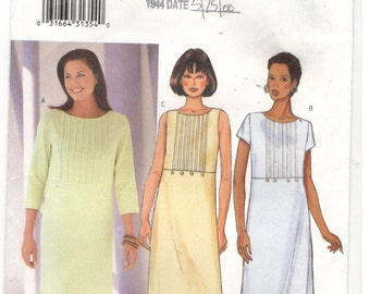 Butterick 6525 Size 12, 14, 16.  Women's sewing pattern empire bodice dress, sleeveless, short or 3/4 sleeves, tucks on bodice front detail