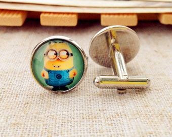 Yellow Minion cufflinks ,  Minions cufflink, cuff links, cool gift for boys, cool gift for men