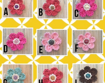 6 Petal Daisy Crochet Hair Clip Flower