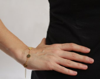 Layered Bracelet ,  Gold chain and 4 discs,  stainless steel bracelt , Chain Bracelet, classic braceled