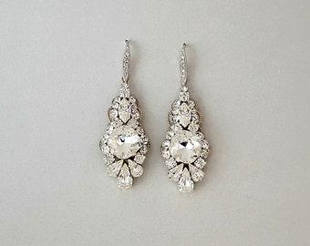 Wedding Earrings - Chandelier Earrings, Bridal Earrings, Vintage Wedding, Crystal Earrings, Swarovski Crystals, Wedding Jewelry - SERENA