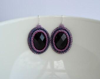 Black Purple Violet Big Dangle Oval Dark Pink Earrings Embroidery Beaded Beadwork Gift Zarcillos Medium Silver Hooks Coctel Formal Bridal