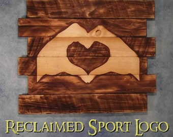 His and Hers Heart Hands, FREE UV protector, 30X23, Burnt wall hanging, Shou Sugi Ban, Charred wood, Sports, Man cave, Wood Sports sign