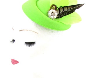 Lime Green Brown Pheasant Feather Pillbox Hat Fascinator Hair Races Vtg 40s 551