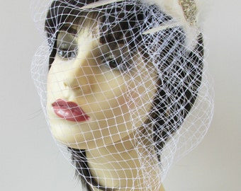 Ivory White Silver Birdcage Veil Headband Fascinator Bridal Pearl Vintage S68