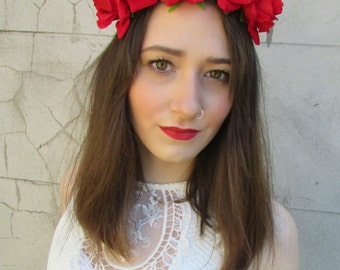 Red Rose Flower Headband Hair Crown Festival Boho Garland Vintage Lana Del Rey Elasticated Headpiece Headdress Dress O29