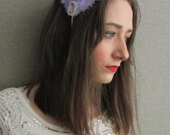 Lilac Purple Silver Feather Fascinator Headpiece Headband 1920s Flapper Vintage Downton Abbey Great Gatsby Rhinestone Fascinator R57