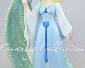 Disney The Blue Fairy Figurine Pinocchio Porcelain China Glitter Swirl Blue Godmother Disney Store Vintage