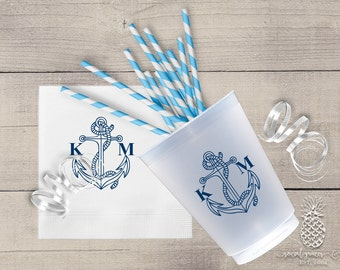 Nautical Anchor Cups or Napkins | Customizable Frosted cup or cocktail napkin | Wedding, Engagement Bridal Parties, Baby shower and Birthday