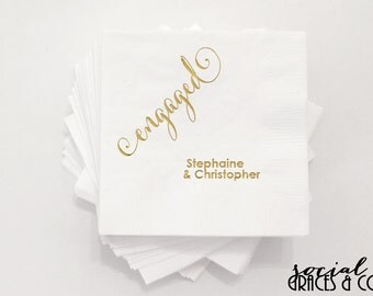 Engaged New Couple Celebration Napkins • Monogrammed Party Accessories • Weddings • Bridal Showers • Engagement Parties • Metallic Foil