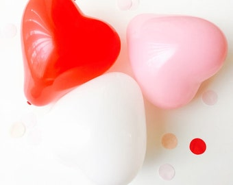 "11"" Heart Shaped Balloons - 6 PACK // Pink // White // Red // Wedding // Valentine's Day"