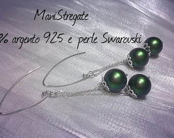 925 silver and Swarovski pearls earrings all scarabeus green-earrings all silver and Swarovski pearls green beetle