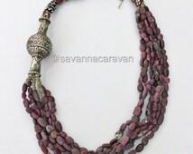 Rubies Roman glass Venetian trade beads, Kashmir silver multi strand  necklace