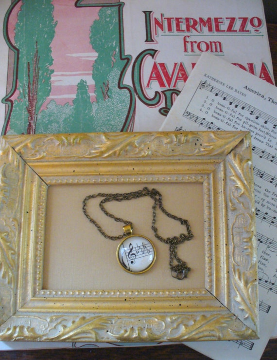 Vintage Sheet Music Necklace, Music and Dance, Re-Purposed Necklace, Five Flats Necklace, Musical Necklace, Sheet Music, MarjorieMae