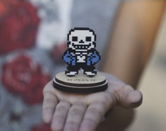 Undertale Sans the Skeleton collectible figurine game souvenir on a stand