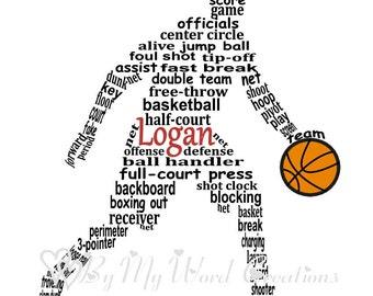 Basketball Player Word Art, Personalized Basketball Player Gift, Personalized Basketball Coach Gift, Basketball Art, PRINTABLE DIGITAL FILE