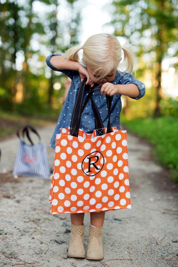 Monogrammed Bag, Halloween Tote Bag, Orange Polka Dot Bag, Reusable Tote Bag, Halloween Treat Bag, Halloween Accessories, Fall Tote Bag