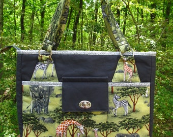 """READY to SHIP*** """"The Stow It All Tote"""" Tote Bag/Large Purse/Work Bag/Diaper Bag/Baby Bag-Safari Animals with Gray Accents"""