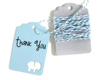 Light Blue Elephant Baby Shower Tags Set of 20 -  Baby Boy Shower - Thank You Tags - Elephant Shower Gift Tags - Baby Shower Favor Tags