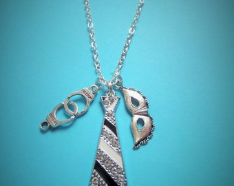 Fifty (50) Shades of Grey inspired charm necklace - Christian Grey - fan gift - handcuffs / tie necklace