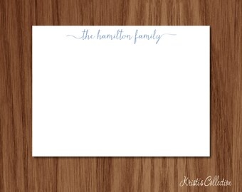 Family Calligraphy Flat Note Card Set - Personalized Simple Stationery Stationary Custom Flat Note Cards - Gift for Familes Mom Anniversary