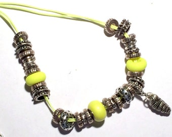 Shell Charm Necklace with Yellow Swarovski BeCharmed Pearl, Neon Yellow Necklace, Swarovski Yellow Neon Necklace