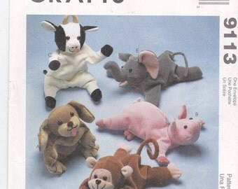 Toy Animals Bean Bag Animals Beanie Babies Cow Elephant Pig Dog Puppy Monkey Baby Elephant Bambini Toy Patterns McCall's Craft Pattern 9113