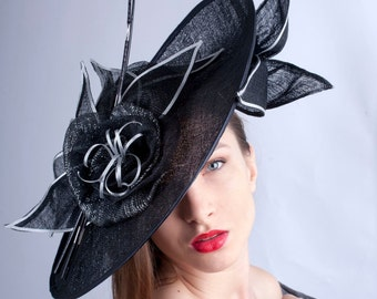 Stunning derby fascinator, Royal Ascot hat, Kentucky derby hat, tea party hat, couture millinery fascinator, Silver black hat