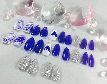stiletto Press on nails~coffin nails~fake nails~false nails~acrylic nails~marble nails~embellished vampire claws~unique birthday gift~nails