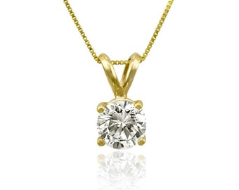 """3.0ct Round Cut 14K Yellow Gold Solitaire Pendant Necklace + 18"""" Chain Made and Designed in the USA Summer Gift"""