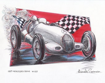 Race Car 1937 Mercedes Benz W125 Art Vintage Car Automobile Drawing  Grand Prix Powerful Car Road Racing Wall Art Print Home Decor Collector