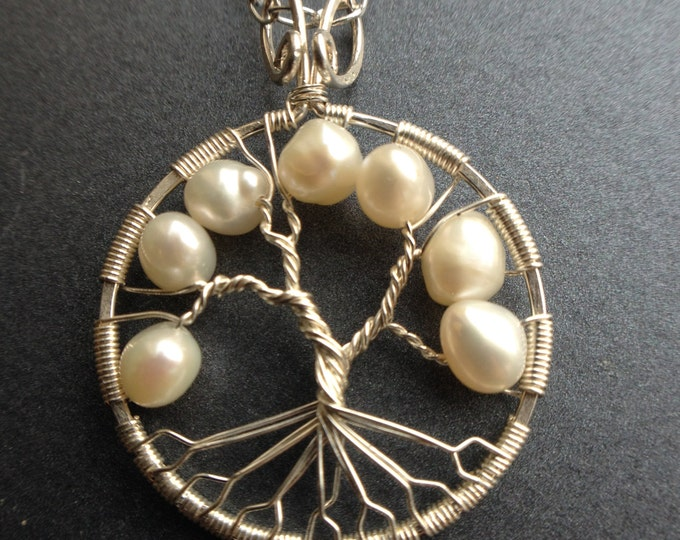 Pearl Necklace White Freshwater Pearl Tree of Life Silver Pendant June Birthstone Bridal Jewelry Pearl Jewelry White Pearl Necklace Boho