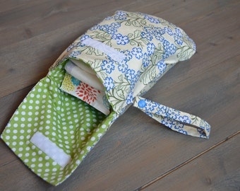 Diaper and Wipe Clutch with Snap Wristlet; Wipe bag; Diaper bag; Baby Accessory Bag; Baby Travel Bag; Accessory Bag; Eclectic Baby; Flowers