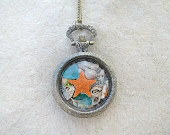 Lucky beach necklace, Lucky star necklace, Lucky locket necklace, Rare sea glass necklace, Rare sea glass jewelry, Beach locket jewelry