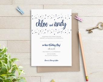 Navy blue wedding Invitation template, printable invitation. Navy + Silver or ANY colours, Dotty Shimmer | DIY Editable printable