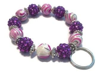 Keychain Bracelet - Beaded Keychain Bracelet - Pink Keychain Bracelet - Purple Keychain Bracelet - Silver Keychain Bracelet