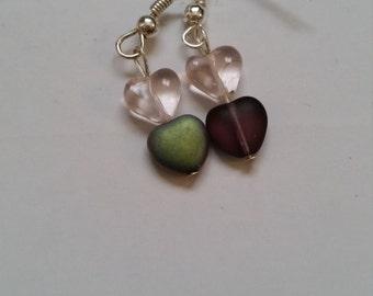 Pink and purple heart shaped beaded dangle earrings