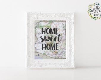 Arizona Home Sweet Home Map print, printable map wall art decor, INSTANT DOWNLOAD